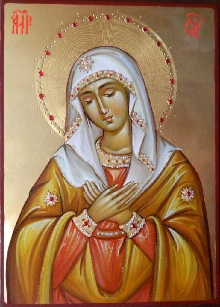 Maica Domnului Umilenia- Icoana Maicii Domnului  realizata pe lemn in stil bizantin , cu foita de aur de 22k. Dimensiune 21x30 cm