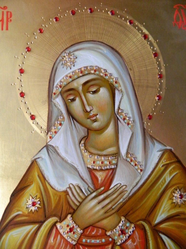 Maica Domnului Umilenia- DETALIU_ Icoana Maicii Domnului  realizata pe lemn in stil bizantin , cu foita de aur de 22k. Dimensiune 21x30 cm