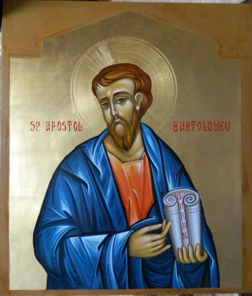 Sfantul Apostol BARTOLOMEU_ Icoana realizata pe lemn , in tehnica bizantina,cu foita de aur de 22k.  Dimensiune 30X42cm