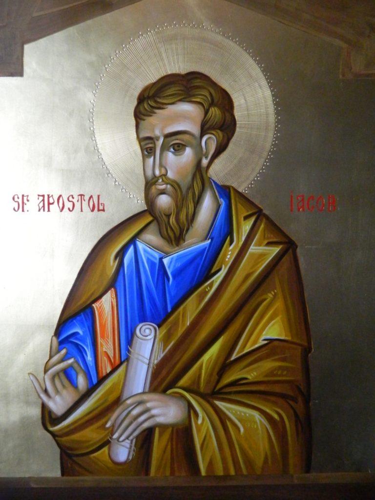 Sfantul Apostol IACOB_ Icoana realizata pe lemn , in tehnica bizantina,cu foita de aur de 22k.  Dimensiune 30X42cm