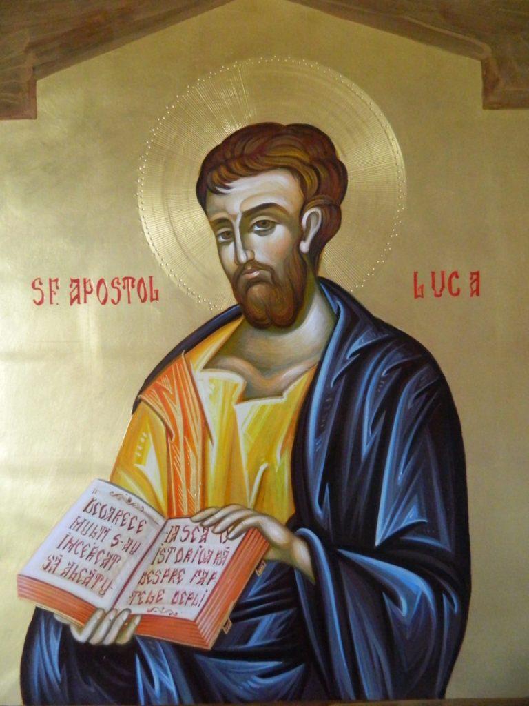 Sfantul Apostol   si Evanghelist LUCA_ Icoana realizata pe lemn , in tehnica bizantina,cu foita de aur de 22k.  Dimensiune 30X42cm