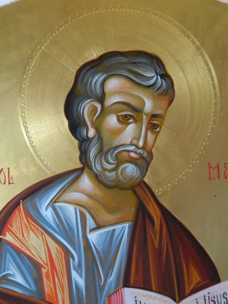 Sfantul Apostol si Evanghelist MARCU_ DETALIU-Icoana realizata pe lemn , in tehnica bizantina,cu foita de aur de 22k.  Dimensiune 30X42cm