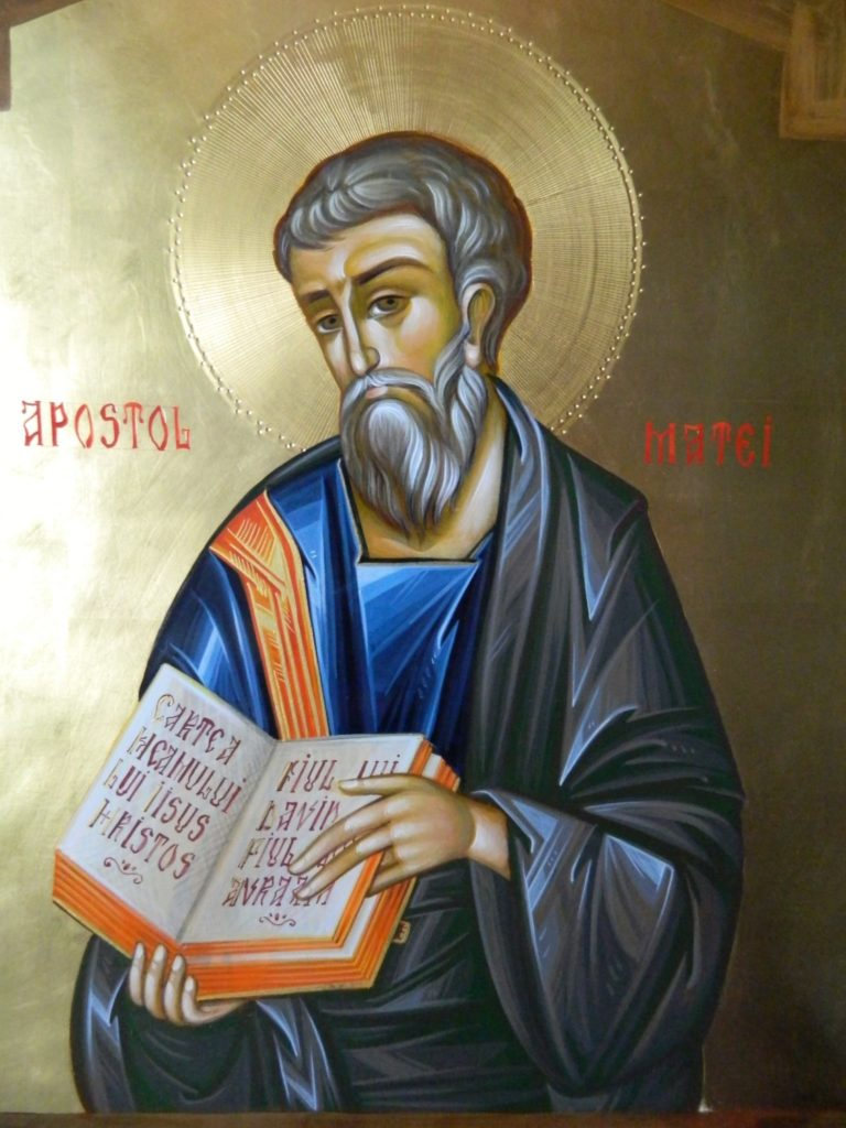Sfantul Apostol   si Evanghelist MATEI_ Icoana realizata pe lemn , in tehnica bizantina,cu foita de aur de 22k.  Dimensiune 30X42cm