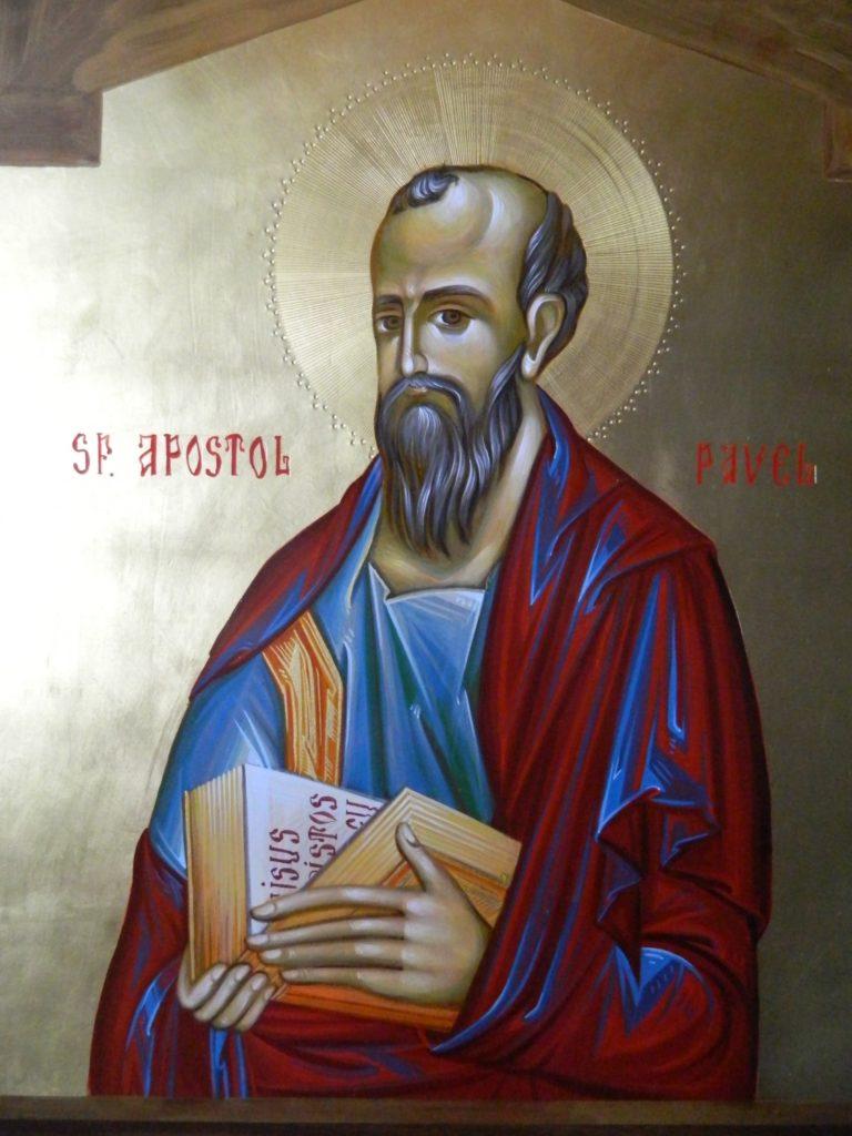 Sfantul Apostol  PAVEL_ Icoana realizata pe lemn , in tehnica bizantina,cu foita de aur de 22k.  Dimensiune 30X42cm