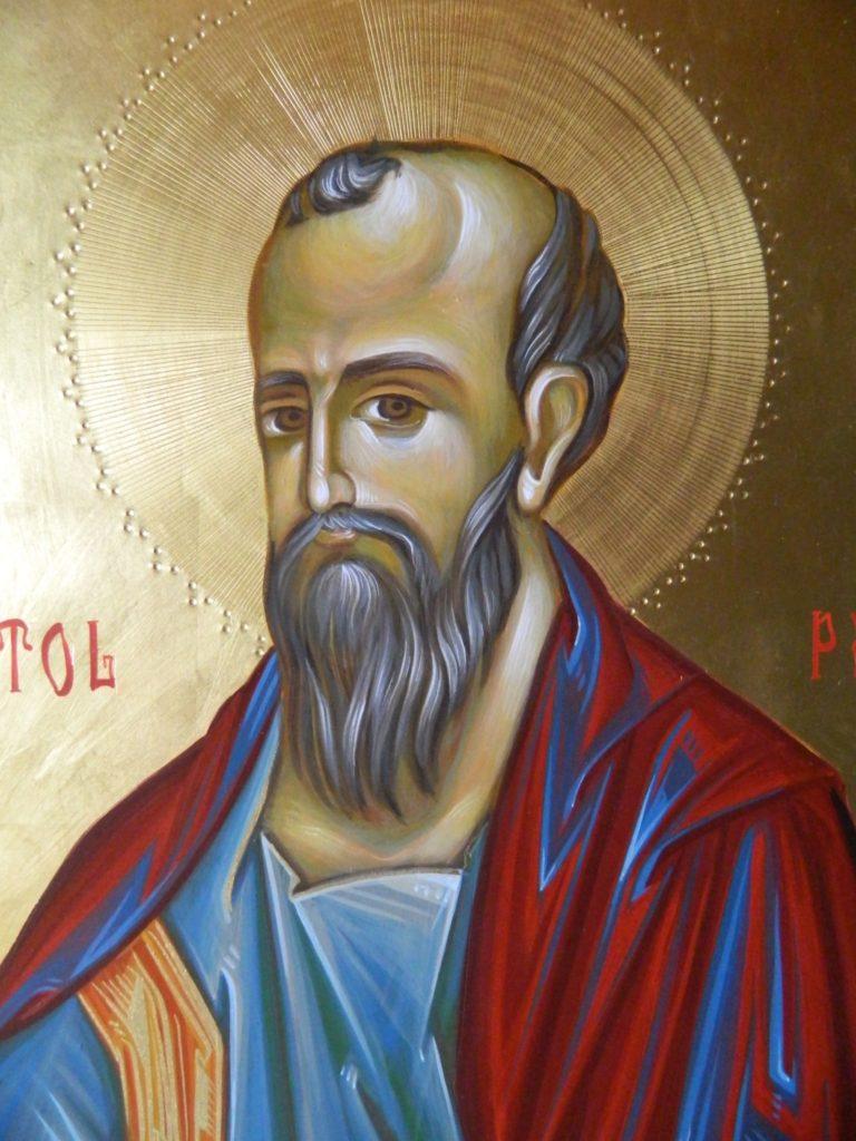 Sfantul Apostol  PAVEL_DETALIU-  Icoana realizata pe lemn , in tehnica bizantina,cu foita de aur de 22k.  Dimensiune 30X42cm