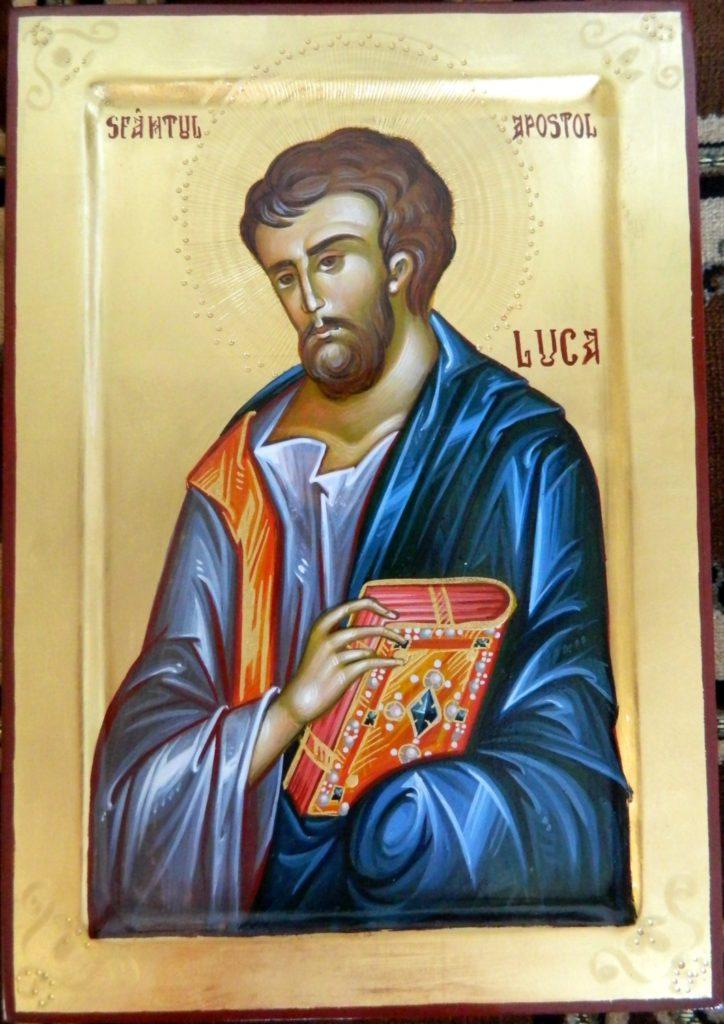 Sfantul Apostol si Evanghelist Luca- Icoana realizata pe lemn, in stil bizantin cu foita de aur de 22k. Dimensiune A4,( 21x30 cm