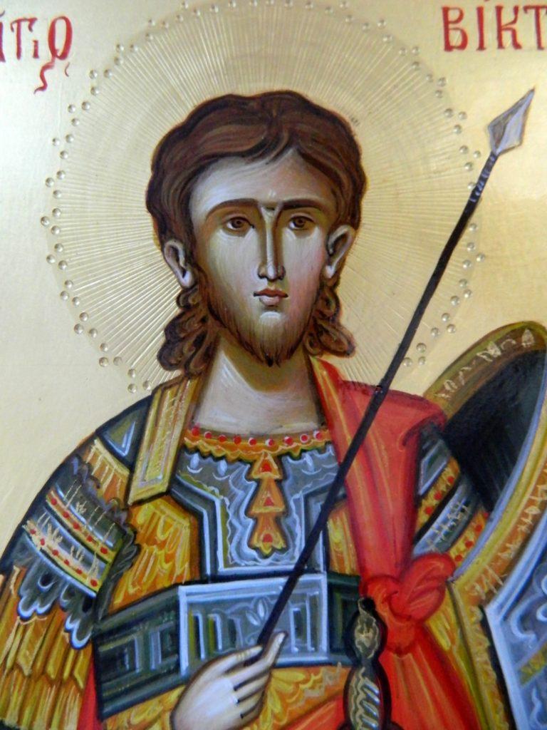 Sfantul Mucenic Victor- Icoana realizata pe lemn, in stil bizantin cu foita de aur de 22k. dimensiune A5 ( 21X18 cm
