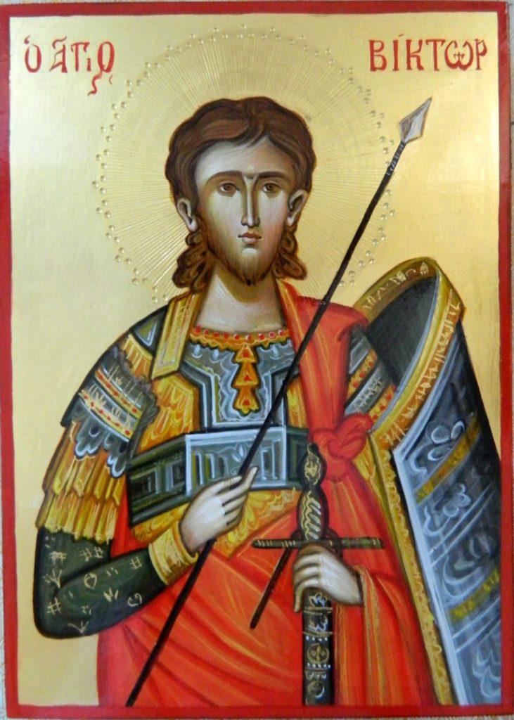 Sfanta Mucenic Victor- Icoana realizata pe lemn, in stil bizantin cu foita de aur de 22k. dimensiune A5 ( 21X18 cm