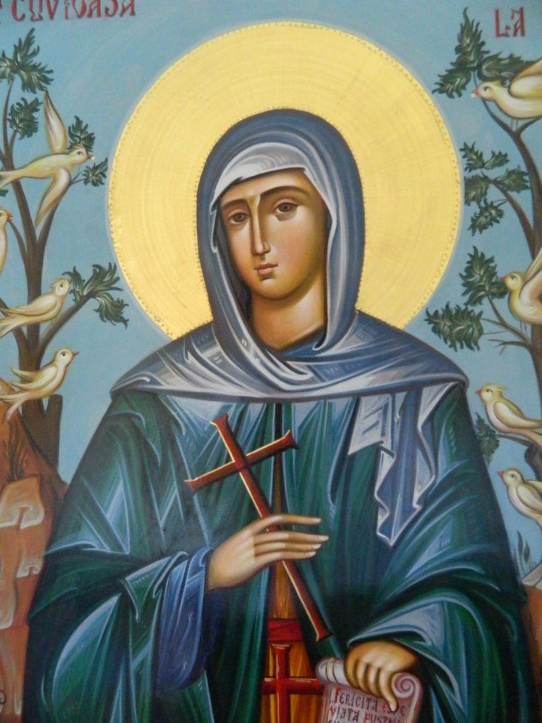 Sfanta Cuvioasa Teodora de la Sihla DETALIU_- Icoana realizata pe lemn, in stil bizantin cu foita de aur de 22k. Dimensiune 60X80cm