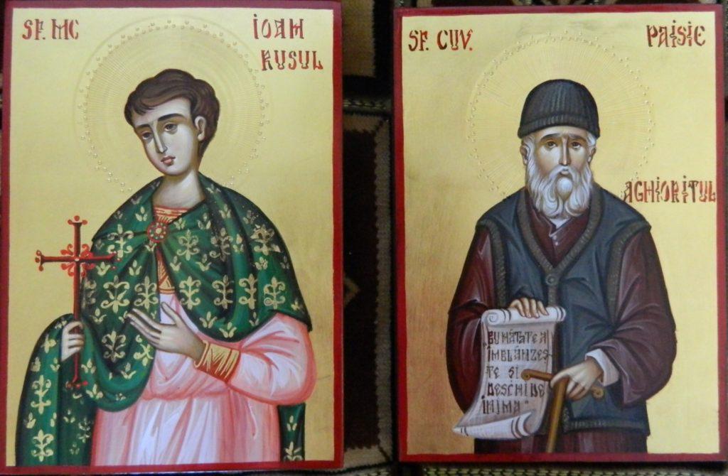 Sf Mc Ioan Rusul si Sf Cuv Paisie Aghioritul-Icoane realizate pe lemn , in stil bizantin, cu foita de aur de 22k. Dimnesiune 21X16cm.