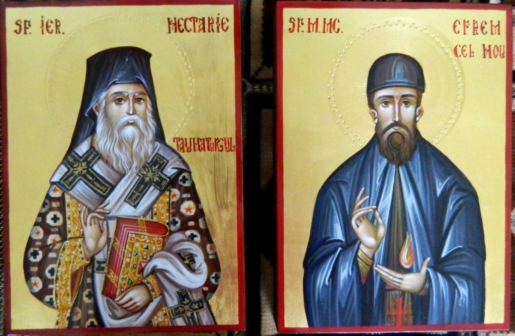 Sf Mucenic Efrem cel Nou si Sf Ierarh Nectarie-Icoane realizate pe lemn , in stil bizantin, cu foita de aur de 22k. Dimnesiune 21X16cm.