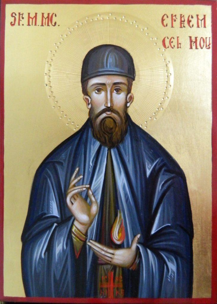 Sf Mucenic Efrem cel Nou-Icoana realizata pe lemn , in stil bizantin, cu foita de aur de 22k. Dimnesiune 21X16cm.