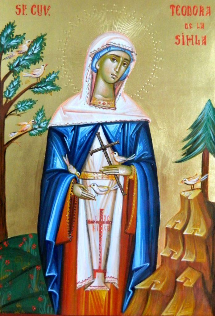 Sfanta Teodora de la Sihla- Icoana pe lemn, realizata in stil bizantin cu foita de aur de 22k,. Dimensiune A4  30X21 cm