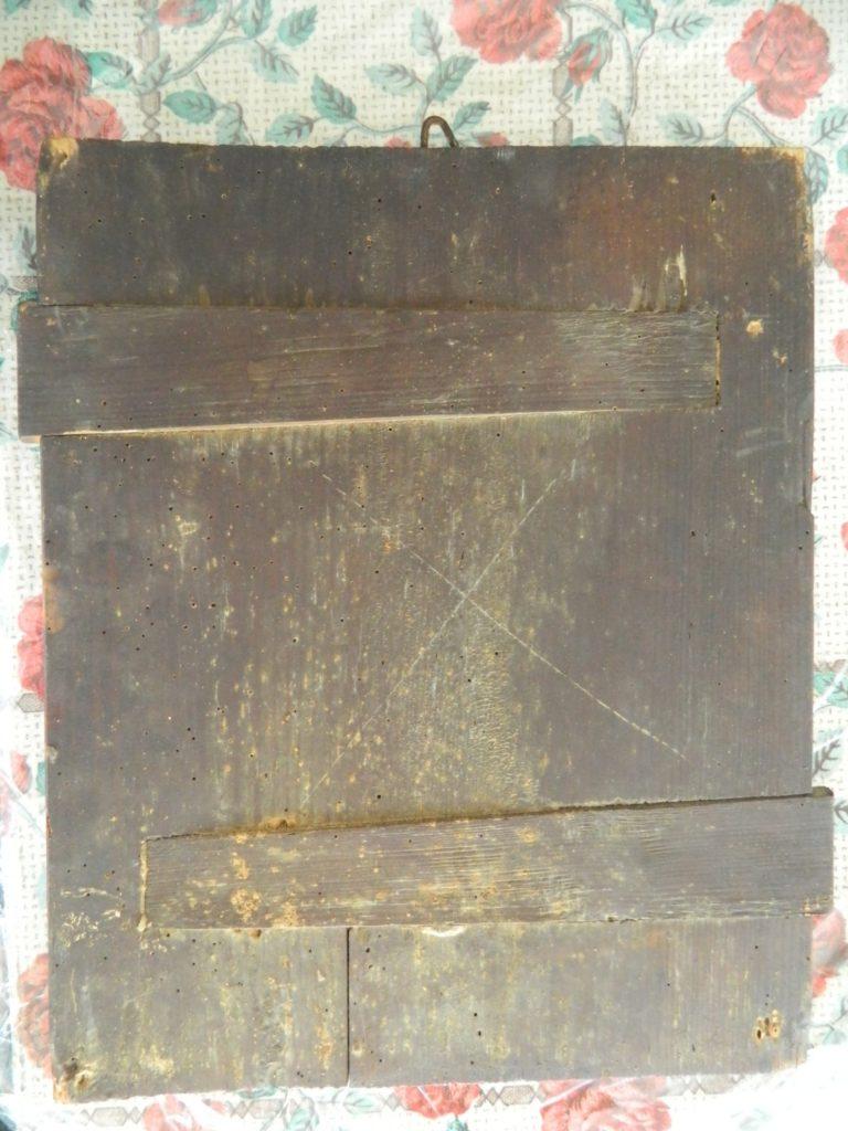 Imaginea infatiseaza icoana inaintea inceperii operatiunilor de restaurare- detaliu verso