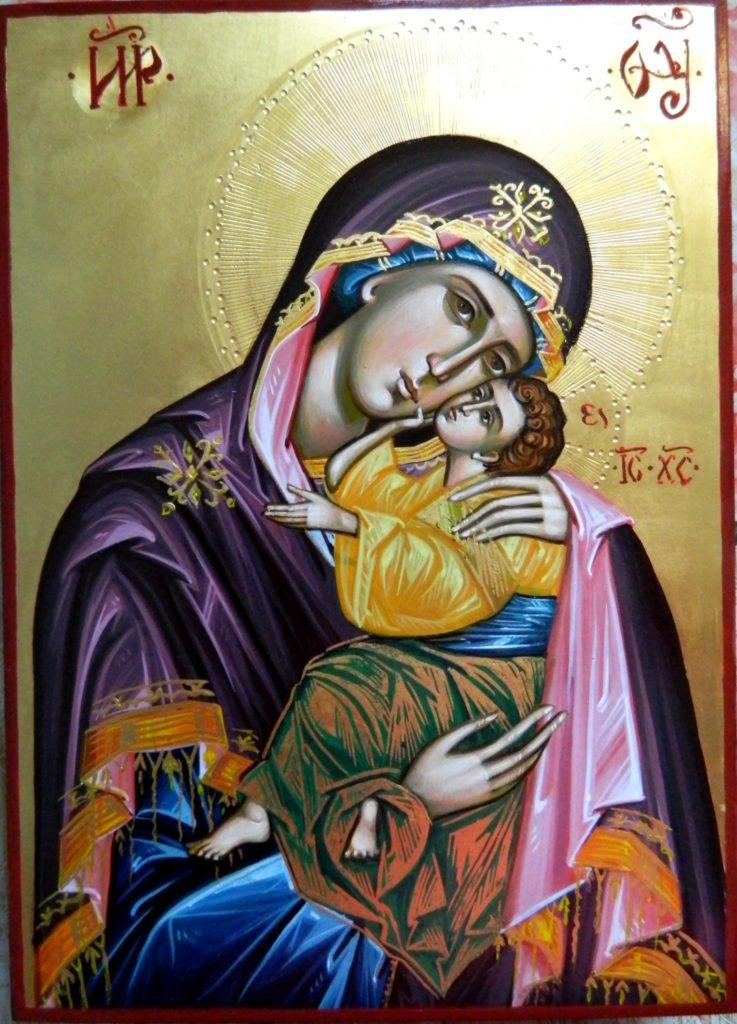 Maica Domnului si Domnul Hristos- Icoane pe lemn, realizate in stil bizantin cu foita de aur de 22k. Dimensiune icoana A4 21x 30 cm