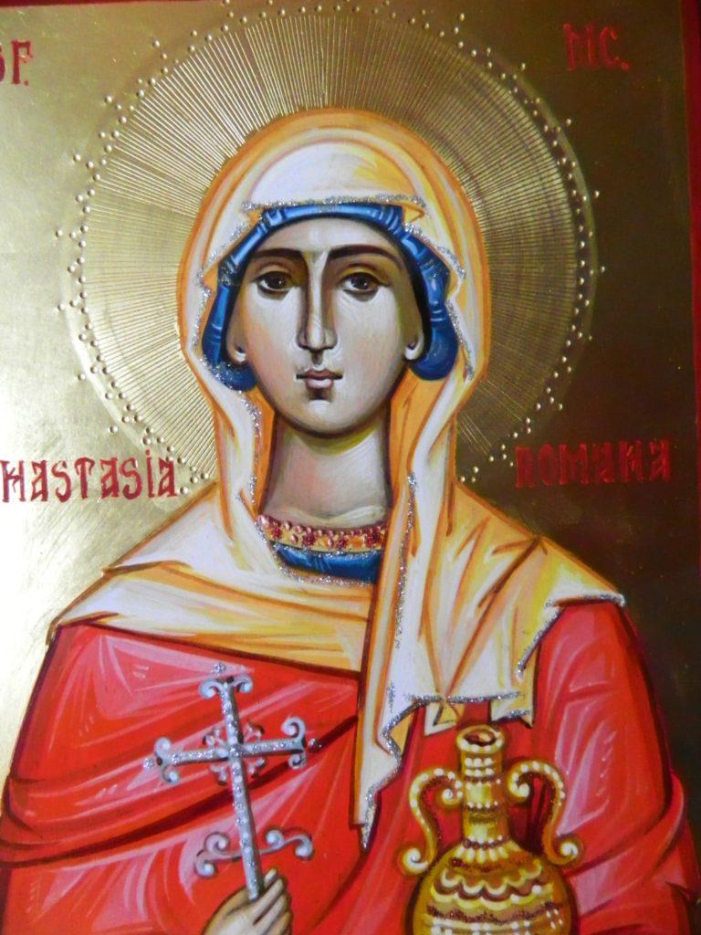 Sfanta Mucenita Anastasia Romana- DETALIU- Icoana pictata pe lemn, in stil bizantin cu foita de aur de 22k, tempera cu emulsie de ou. Dimensiune A4