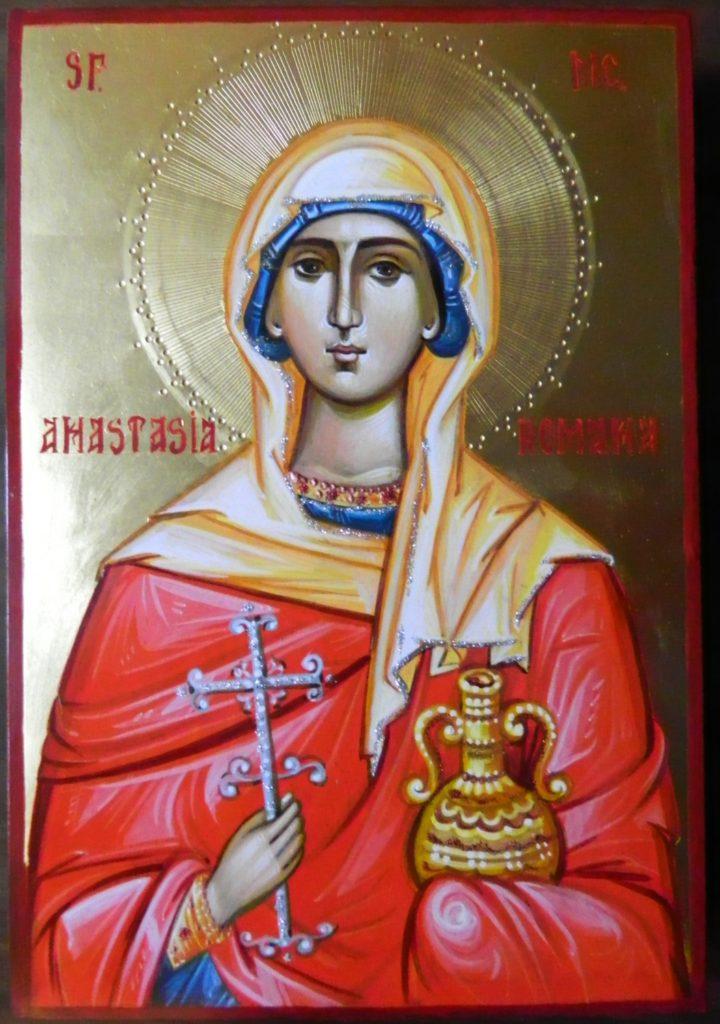 Sfanta Mucenita Anastasia Romana Icoana pictata pe lemn, in stil bizantin cu foita de aur de 22k, tempera cu emulsie de ou. Dimensiune A4