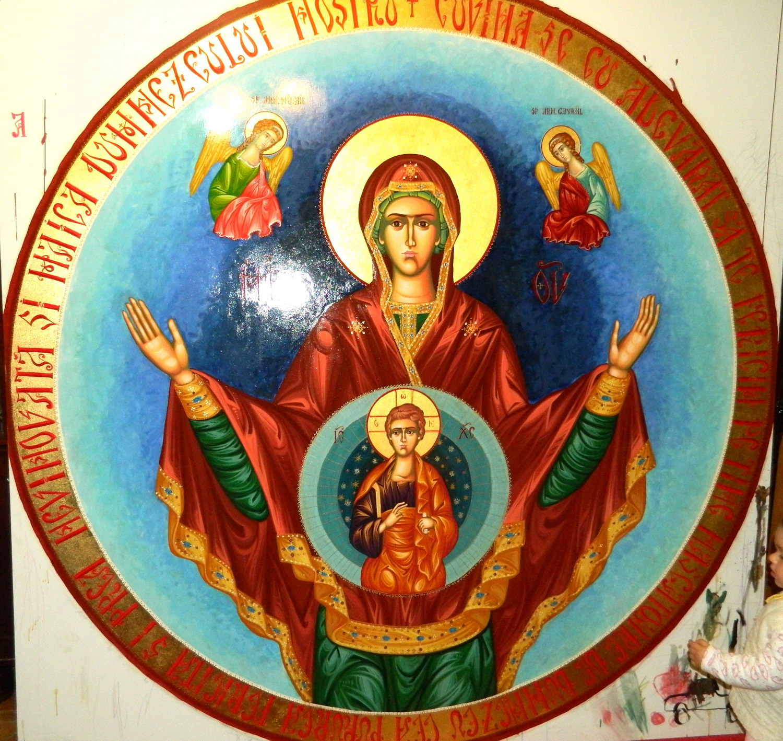 ICOANA PE PANZA- Maica Domnului Oranta -sau Maica Domnului Rugatoarea