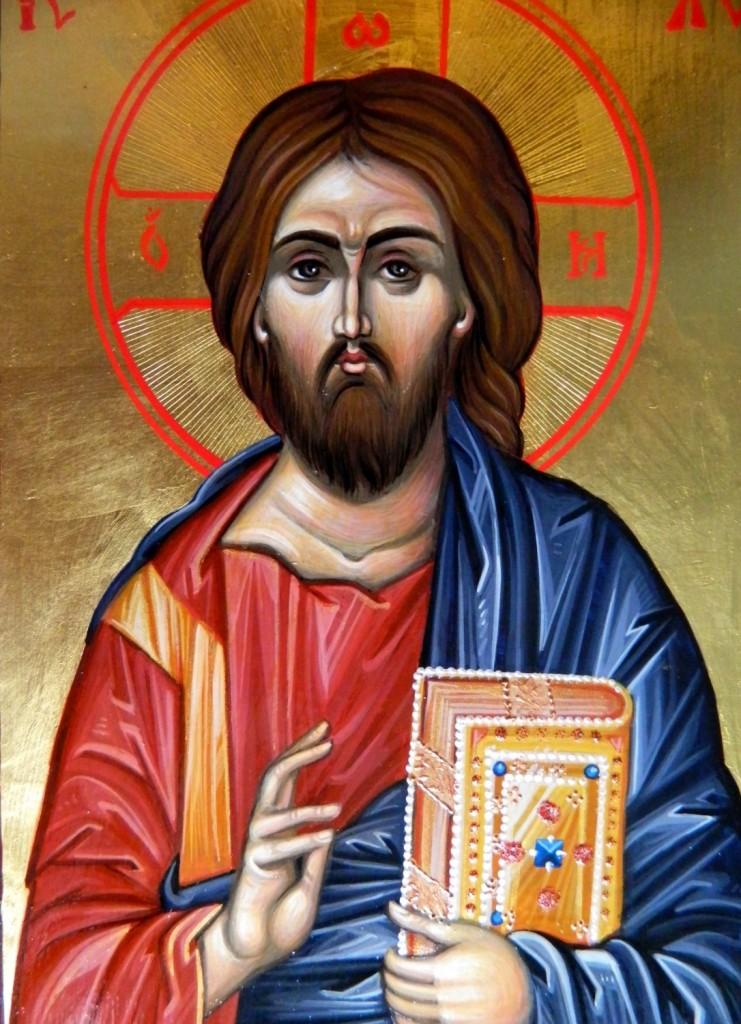 Domnul Iisus Hristos- Detaliu-Icoana pe lemn, realizata in tehnica bizantina , cu foita de aur de 22k. Dimensiune A5, (15X21cm)