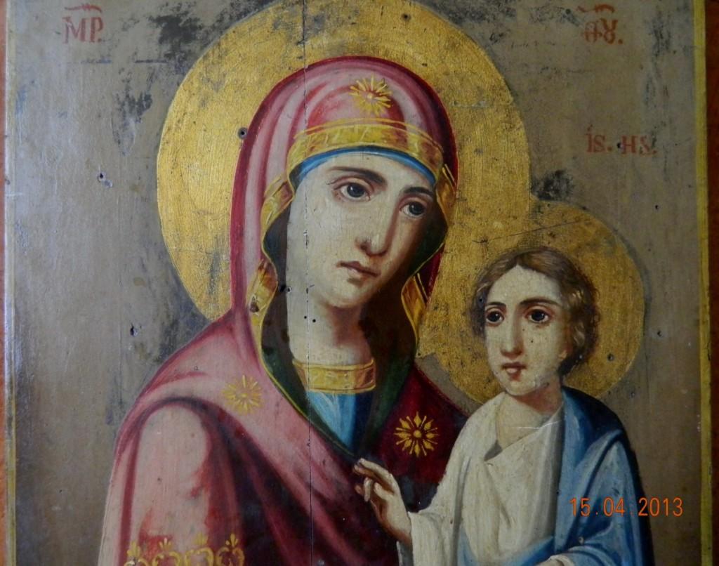 Icoana Maica Domnului cu Pruncul- DETALIU- Inainte de restaurare