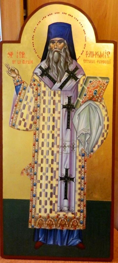 Sfantul Pahomie de la Gledin-  Icoana pe lemn, cu foita de aur de 22k, realizata in stil bizantin. Dimensiuni 90cm X40 cm