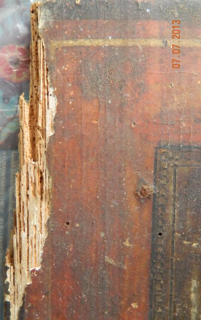 Maica Domnului cu Pruncul- Icoana secol 17 - DETALIU- IMAGINE INAINTE DE RESTAURARE