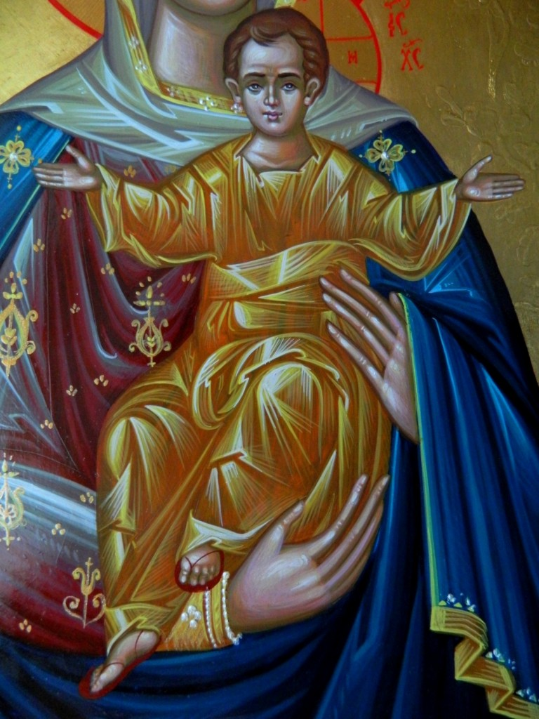 Maica Domnului cu Pruncul_- detaliu-Icoana pe lemn, realizata in tehnica neobizantina, cu foita de aur de 24k si 22k. Dimensiuni 42cm X32 cm