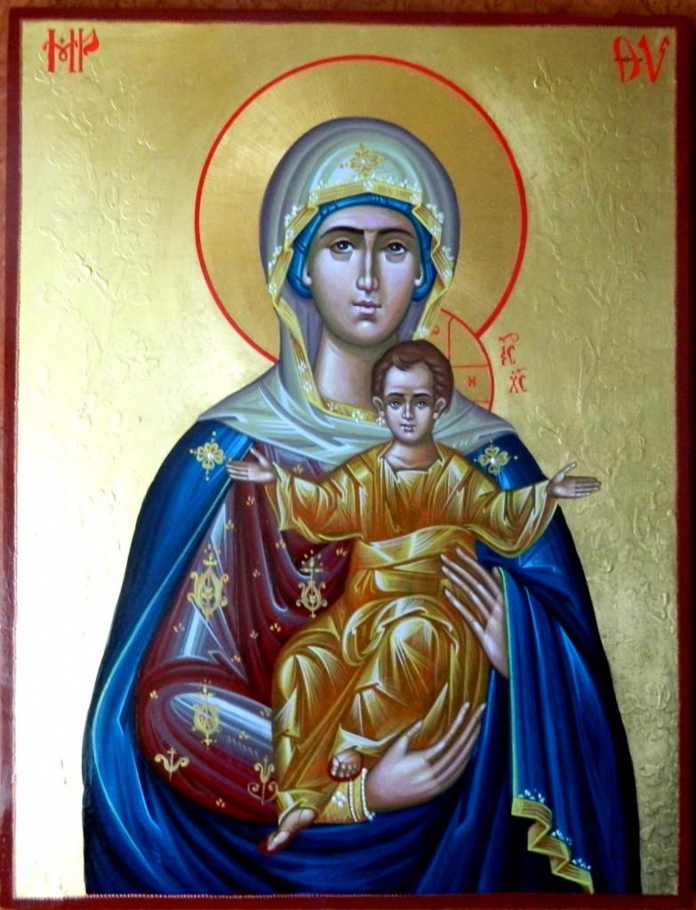 Maica Domnului cu Pruncul_- Icoana pe lemn, realizata in tehnica neobizantina, cu foita de aur de 24k si 22k. Dimensiuni 42cm X32 cm