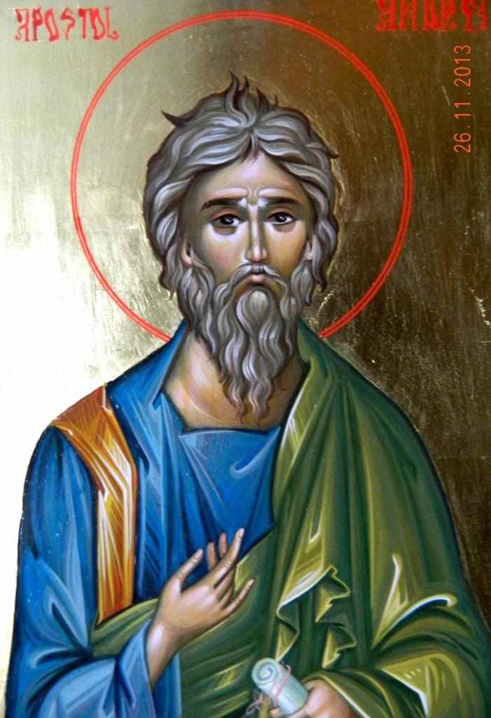 Sfantul Apostol ANDREI- DETALIU-Icoana pictata in stil bizantin, tempera cu ou, foita de aur de 22k. Dimensiune A4