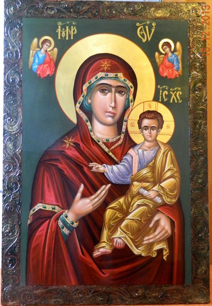 Maica Domnului cu Pruncul - Povatuitoarea- Icoana pe lemn, realizata in tehnica bizantina, cu foita de aur de 22k. Dimensiuni 100cmX 68 cm