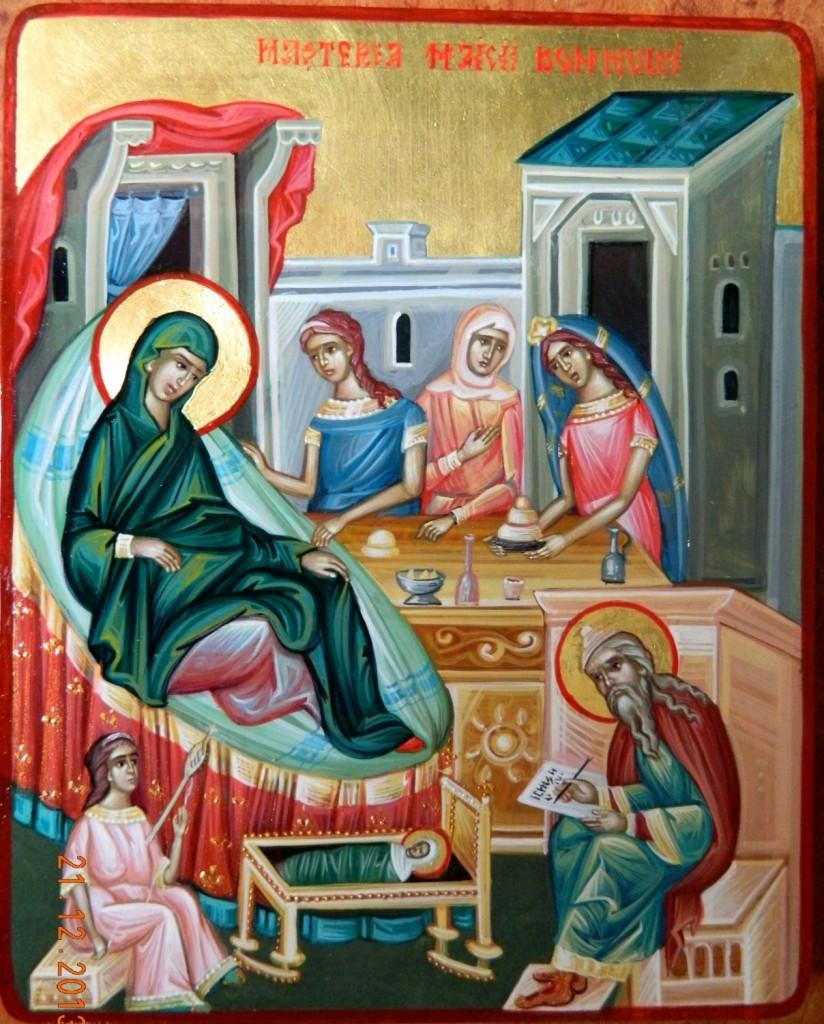 Nasterea Maicii Domnului- Icoana pe lemn, realizata in stil bizantin, cu foita de aur de 22k. Dimensiuni A5
