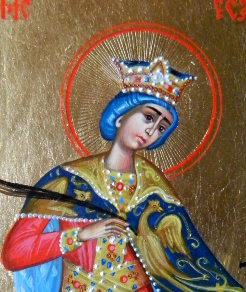 Sfanta Mucenita Ecaterina- DETALIU- Icoana realizata in tehnica bizantina, cu foita de shlakmetal. Dimensiune A5