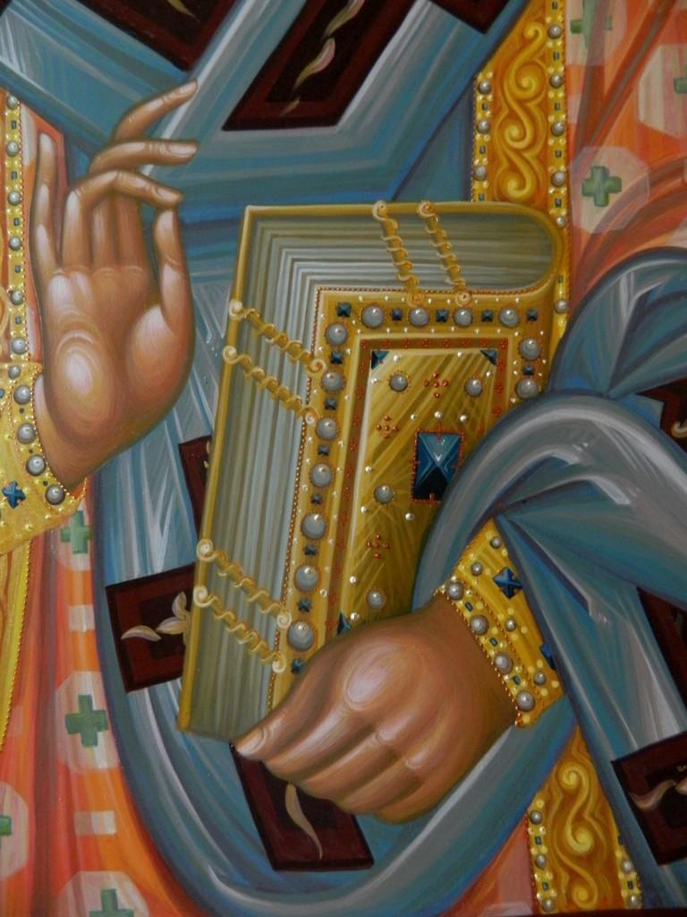 Sfantul ierarh Nectarie- DETALIU- Icoana pe lemn tei, realizata in tehnica bizantina, tempera cu ou , si foita de aur de 22k. Dimensiune 70cmX100cm