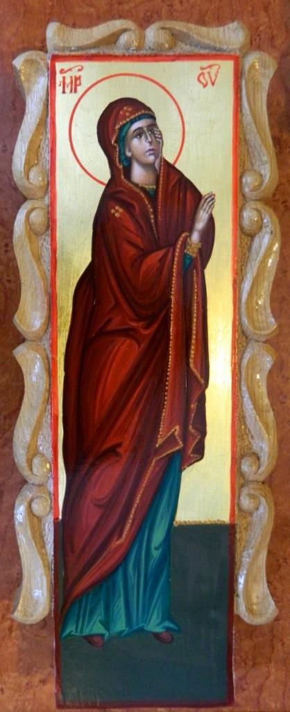 Crucea si moleniile catapeteasma-  DETALIU MAICA DOMNULUI- Icoane realizate pe lemn, in tehnica neobizantina si foita de aur de 22k. Dimensiune, inaltime cruce- 30cmX15cm, molenii 25 cm X 6cm