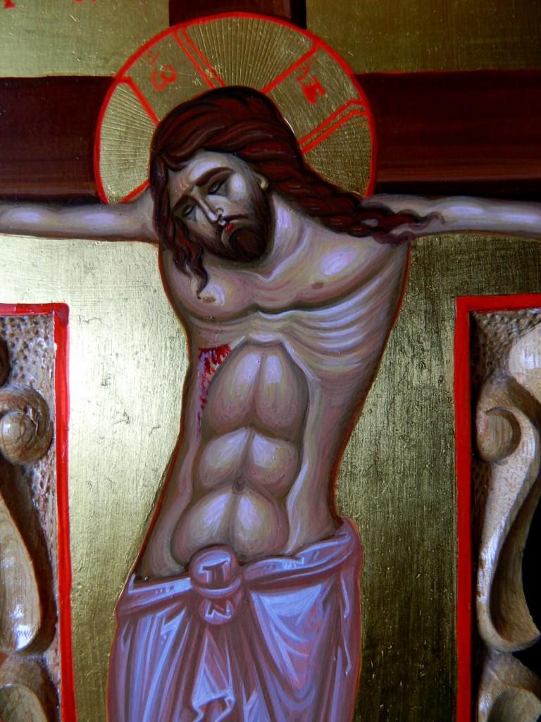 Crucea si moleniile catapeteasma-DETALIU- Icoane realizate pe lemn, in tehnica neobizantina si foita de aur de 22k. Dimensiune, inaltime cruce- 30cmX15cm, molenii 25 cm X 6cm