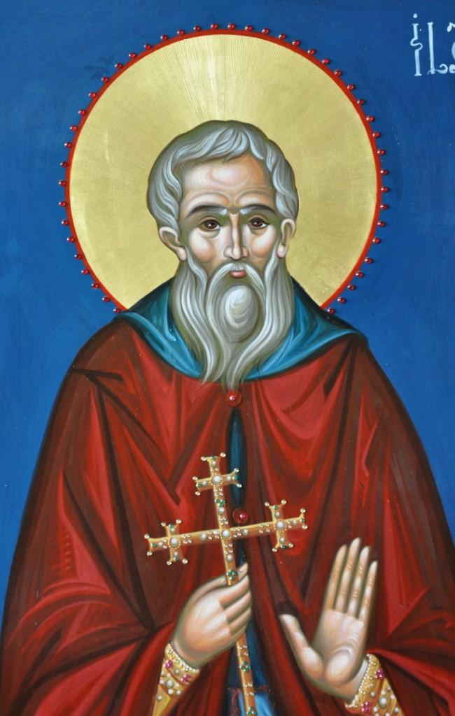 Sfântul Ilarion cel Nou-  DETALIU- Icoana pe lemn, realizata in tehnica bizantina, cu foita de aur de 22k, si aplicatii de pietre semipretioase.  Dimensiuni 116cmX68 cm