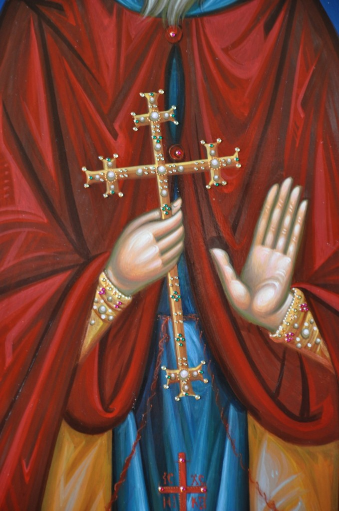 Sfântul Ilarion cel Nou- DETALIU-Icoana pe lemn, realizata in tehnica bizantina, cu foita de aur de 22k, si aplicatii de pietre semipretioase.  Dimensiuni 116cmX68 cm
