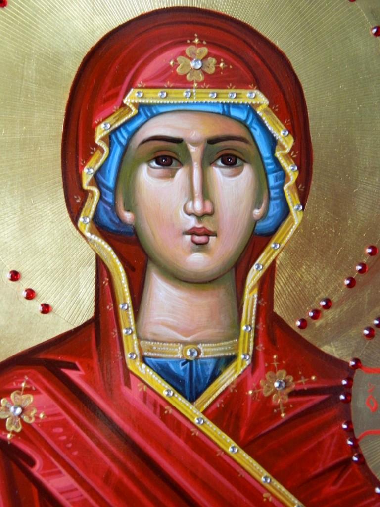 Maica Domnului pe tron- Icoana imparateasca realizata pe lemn, cu foita de aur de 22k, realizate in stil neobizantin. Dimensiune 40X90cm