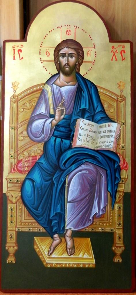 Domnul Iisus Hristos pe tron- Icoana imparateasca realizata pe lemn, cu foita de aur de 22k, realizate in stil neobizantin. Dimensiune 40X90cm