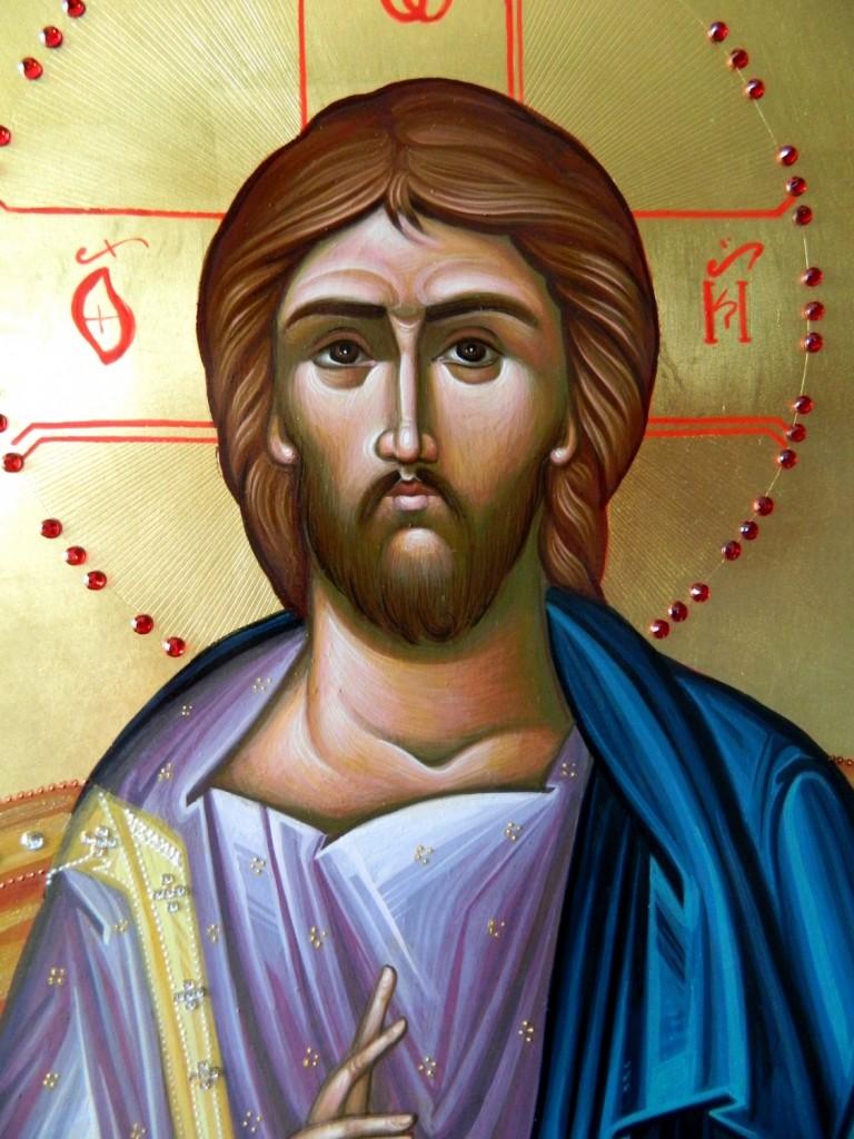 Domnul Iisus Hristos pe tron- DETALIU- Icoana imparateasca realizata pe lemn, cu foita de aur de 22k, realizate in stil neobizantin. Dimensiune 40X90cm