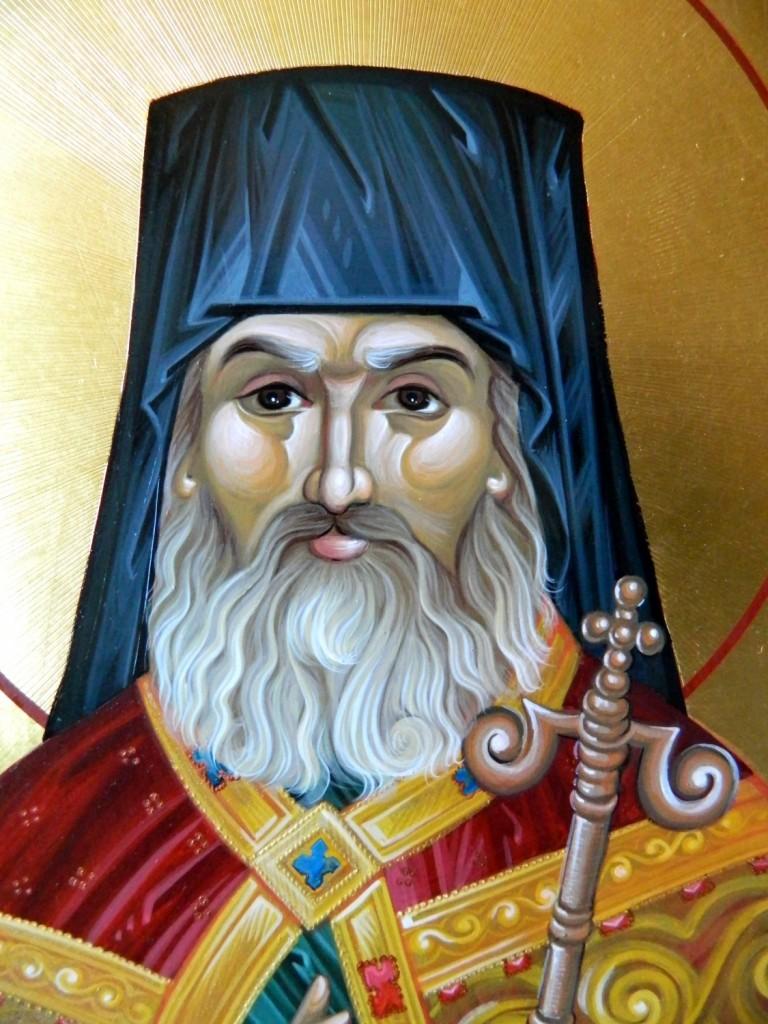 Sfantul Ierarh Calinic de la Cernica- DETALIU-Icoana pe lemn, realizata in tehnica bizantina, cu foita de aur de 22k. Dimensiuni A3 ( 42cmX30 cm)