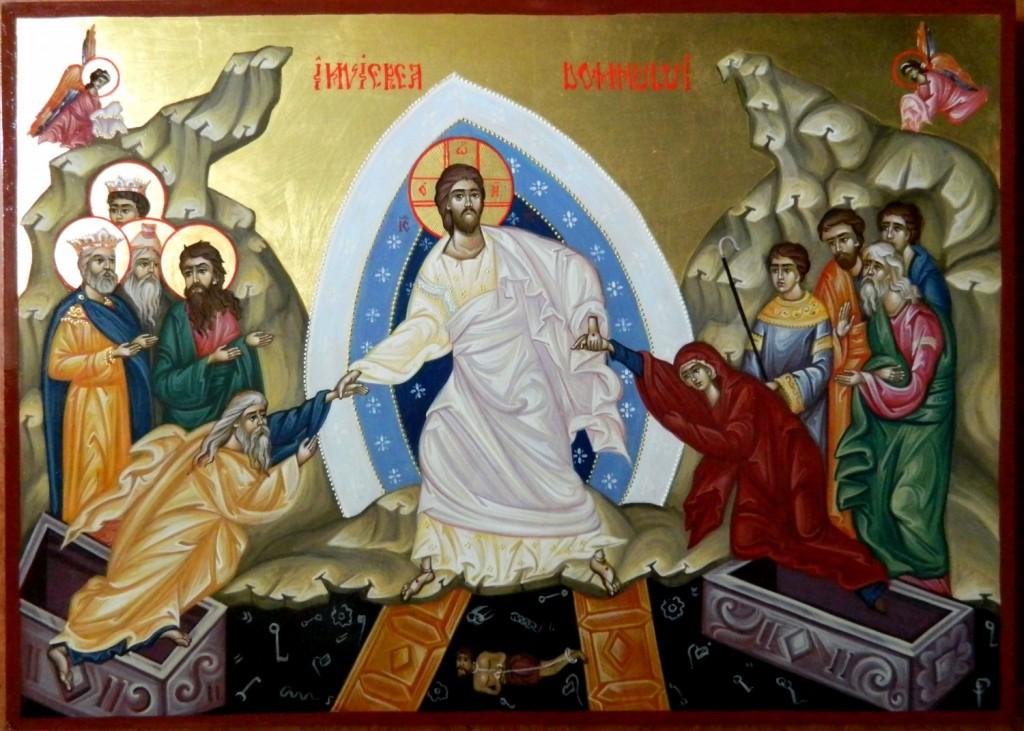 Invierea Domnului- Pogorarea la Iad- Icoana realizata pe lemn, cu foita de aur de 22k . Dimensiune 31cmX43cm