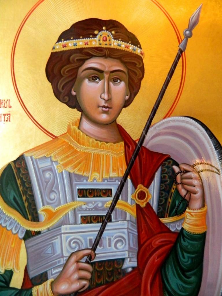 Sf Mare Mucenic Gheorghe- Icoana pe lemn, realizata in tehnica bizantina, cu foita de aur de 22k.  Dimensiune A3