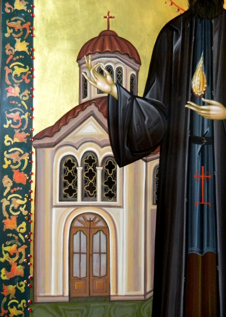 SFANTUL MARE MUCENIC EFREM CEL NOU-DETALIU_Icoana pe lemn, realizata in tehnica bizantina, si foita de aur de 22k, si aplicatii de pietre semipretioase. Dimensiuni 85X 60 cm