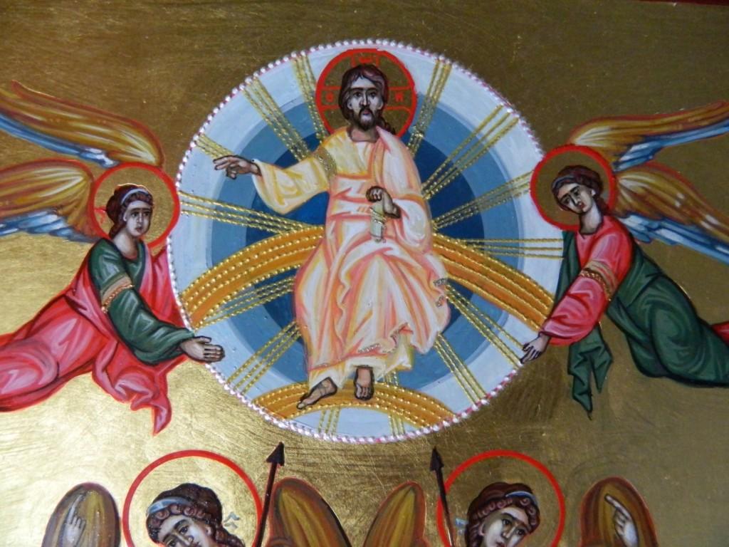Inaltarea Domnului- DETALIU- Icoana realizata pe lemn, tehnica bizantina cu foita de au de 22k.  Dimensiuni 31x 57 cm