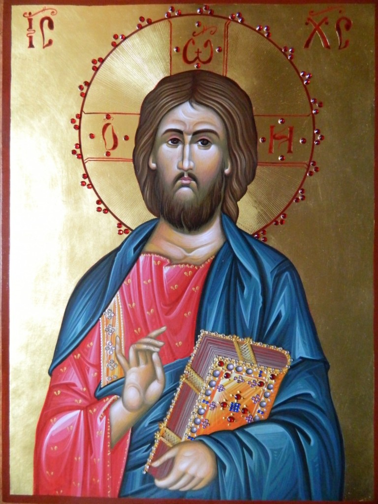 Iisus Hristos Pantocrator- Icoana realizata pe lemn de tei. cu foita de aur de 22k, in stil neobizantin.  Dimensiune A3( 42 x 30 cm)