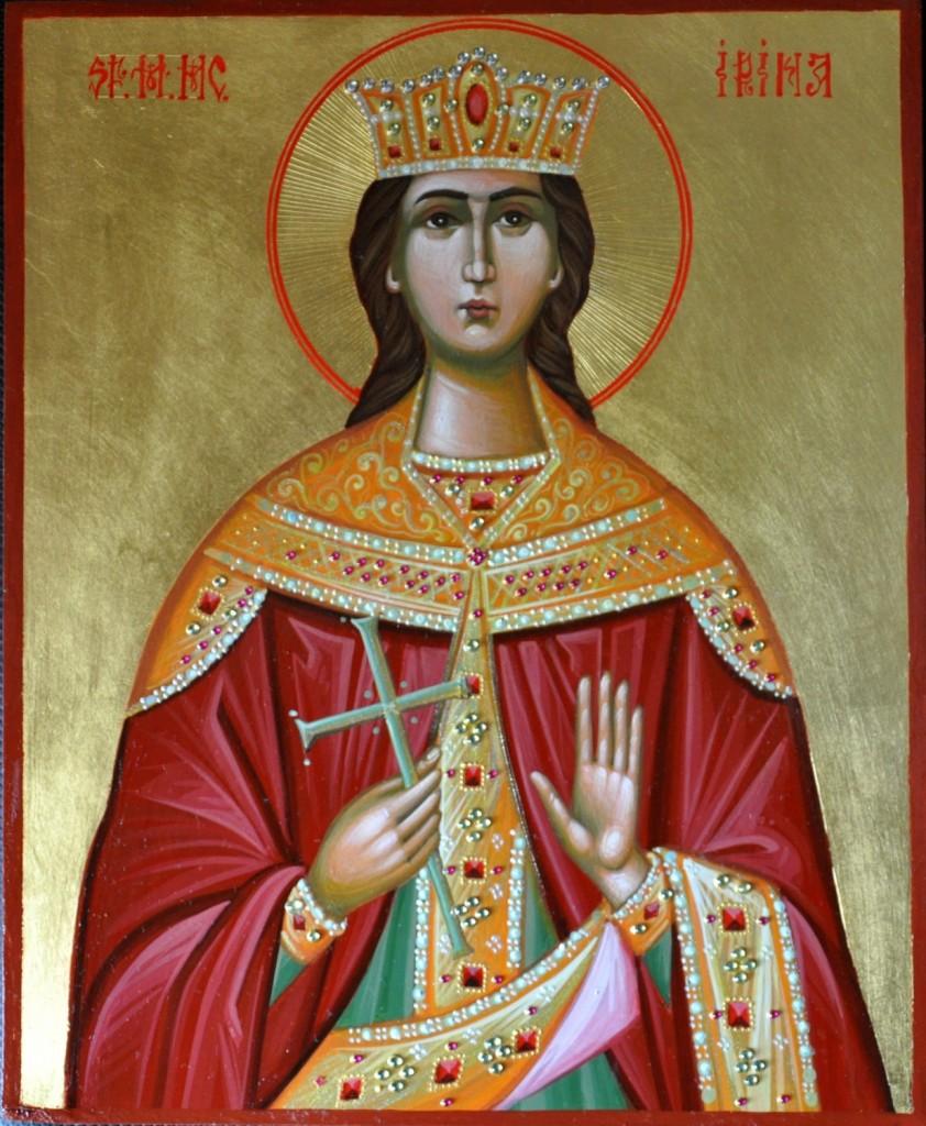 Sf M. Mc Irina- Icoana pe lemn realizata in tehnica bizantina cu foita de aur de 24k , si aplicatii de pietre semipretioase. Dimensiune 22cmX18 cm