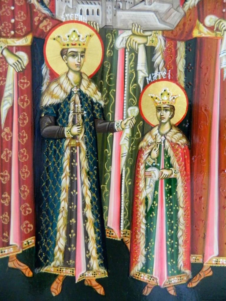 Sfintii Martiri Brancoveni- DETALIU_Icoana pe lemn, realizata in tehnica bizantina, cu foita de aur de 22k. Dimensiuni 30cmX42 cm  (A3)