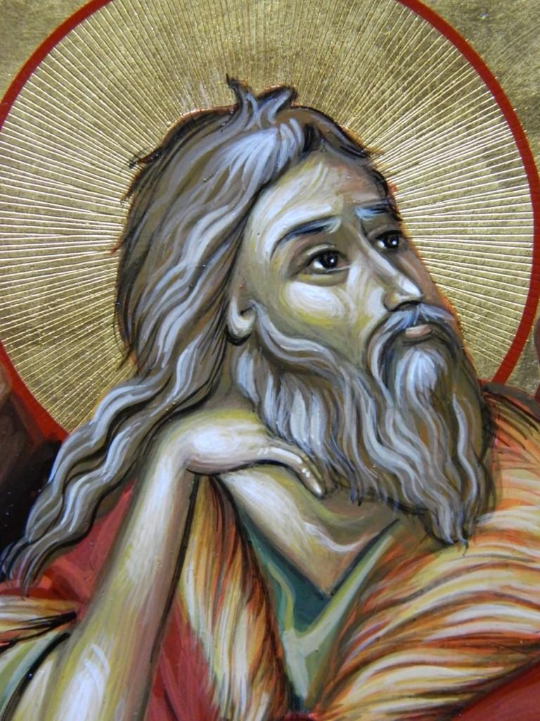 Sfantul Prooroc Ilie- DETALIU_Icoana pe lemn,realizata in tehnica bizantina, cu foita de aur de 22k. Dimensiuni A4