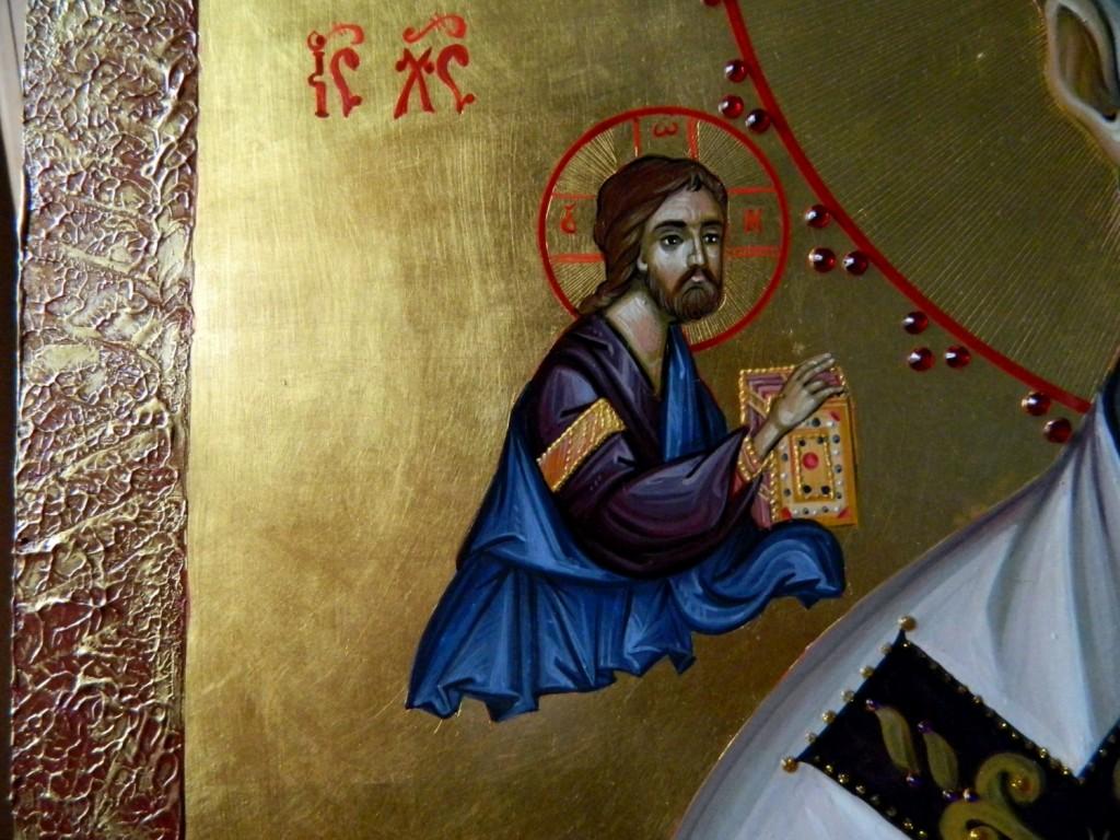 Sfantul Ierarh Nicolae- DETALIU-Icoana realizata pe lemn de tei, in tehnica bizantina, cu foita de aur de 22k, si aplicatii de pietre semipretioase. Dimensiuni 50X70 cm